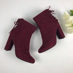 Charlotte Russe Burgundy Suede Block Heel Boots
